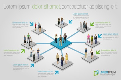 Template with connected people. Social network.